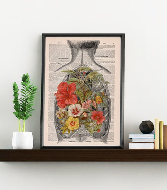 Spring Sale Nature on an Open Back human Anatomy Print on dictionary page gift  love wall art, human anatomy, science, art BPSK098