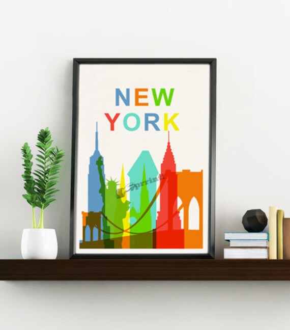 Spring Sale New York City skyline - Wall decor art print New York art Gift him, NY wall art Giclee print, City Skyline art WTV143