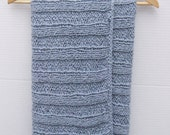 Organic cotton hand knitted baby blanket blue