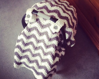Crochet Pattern for Chunky Chevron Car Seat Canopy Cover - Welcome to sell finished items