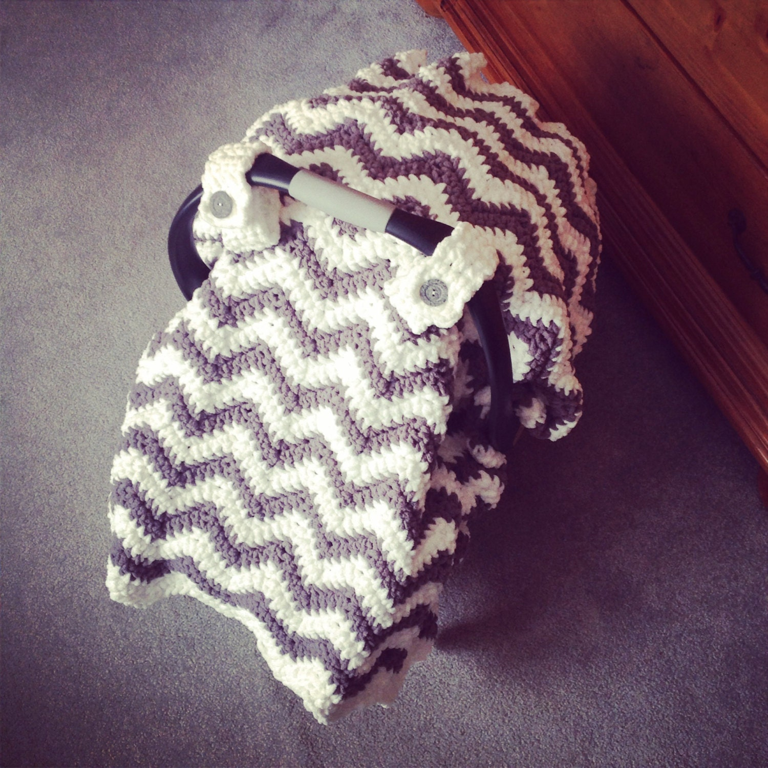 Crochet pattern for chunky chevron car seat canopy cover zoom bankloansurffo Gallery