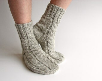 Hand Knitted Braided Cable Men's Socks - 100% Natural Not Dyed Wool - Warm Organic Clothing