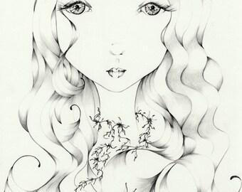 """She's """"I See You"""" Fine Art Giclee Print Art Print Minimalist Art Print Girl Art Girl Drawing Big Eye Art Print Monochromatic Black and White"""