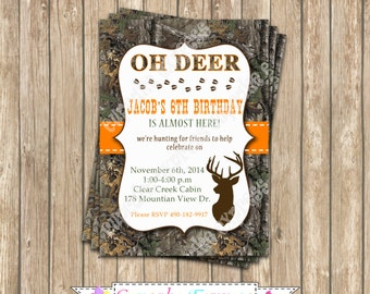 Camo Boy Hunting Birthday Party  PRINTABLE Invitation 5x7  camouflage orange realtree