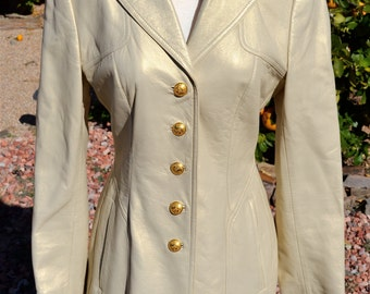 Escada Golden Pearl Lambskin Leather Jacket w/ Floral Embossed Gold Button Detailing Size Small