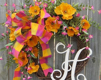 Poppy Monogram Wreath, Spring Wreath, Wreath with Monogram, Wreath with Bow, Bright Spring Summer Wreath, Horn's Handmade