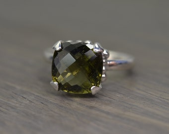 Moldavite Ring, silver gold cushion prong solitaire pine green - Darcy Ring