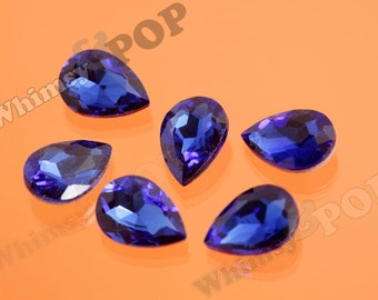 Royal Blue Glass Tear Drop Loose Rhinestones, Multi-Faceted Rhinestones, Tear Drop Rhinestone, 14mm x 10mm x 5mm (R8-046)