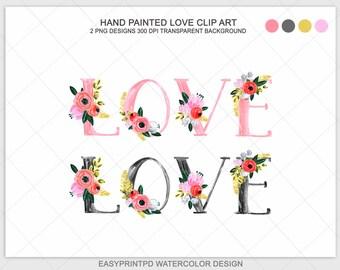 Watercolor Floral Love Clip Art, Watercolor Flowers Love Clipart, Digital Watercolor, Pink and Black Valentine Clip Art, Valentine Clipart