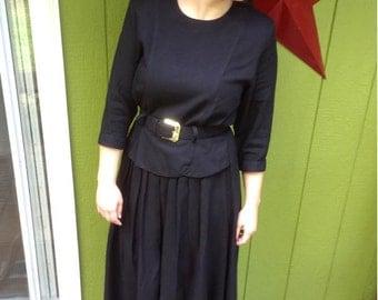 The Blair - 1980's Vintage Nina Piccalino Black Crape Peplum Button Back dress Size: M