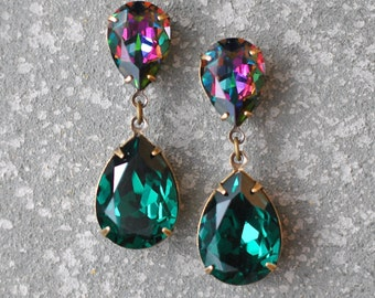 Emerald Dark Rainbow Swarovski Crystal Rhinestone Earrings Post or Clip on Tear Drop Earrings Duchess Hourglass Mashugana