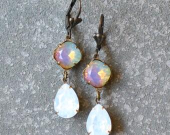 WHite Opal Rainbow Earrings Swarovski Crystal Rainbow Earrings Rhinestone Tear Drop Dangle Pear Earrings Gwenevere Mashugana