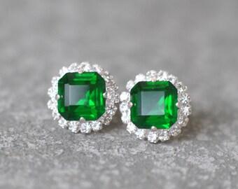 Emerald Stud Earrings Swarovski Crystal Rhienstone Studs Rhinestone Emerald Green Kelly Diamond Pendant Necklace Mashugana