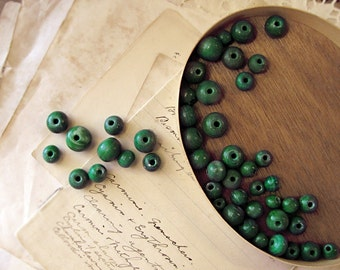 antique trade beads - lot of banded green agate ball beads - large hole - various sizes