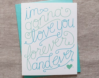 Anniversary card, wedding day greeting card, day of wedding, love you forever hand lettered card
