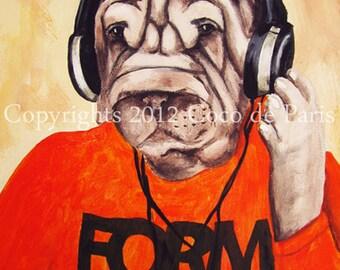 DJ Dog: Original Acrylic Painting on canvas