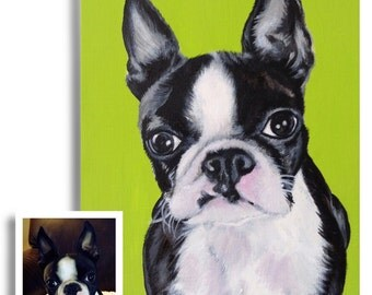 11x14 custom dog portrait on canvas from photo oil and acrylic original Boston terrier art great birthday gift for pet lover