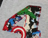 Big boys super hero birthday shirt, hulk, captain America,  Thor,  spiderman, super hero shirt, number hand embroidered shirt
