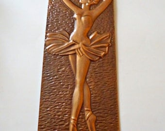 Vintage Hammered Copper Ballerina Wall Hanging Picture 1960's