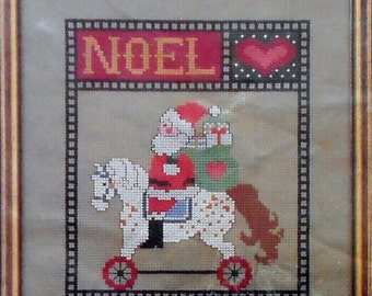 CLEARANCE Astor Place NOEL SANTA Claus Christmas Picture - Counted Cross Stitch Pattern Chart