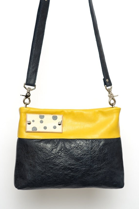 Mustard yellow and navy blue leather bag  handbag  crossbody strap ...