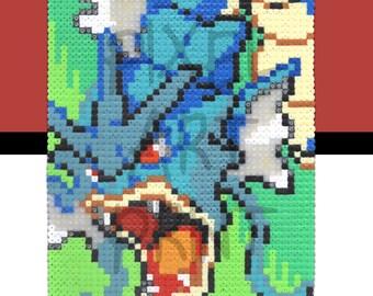 A3 Gyarados Pokemon Gameboy 8bit pixel art print