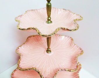 California Pottery 3 Tier Server FREE SHIPPING! Cup Cake Bon Bon Shell Pink Gold Trim