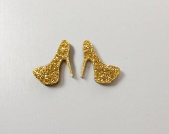 Laser Cut High Heel Stud Earrings Gold Glitter