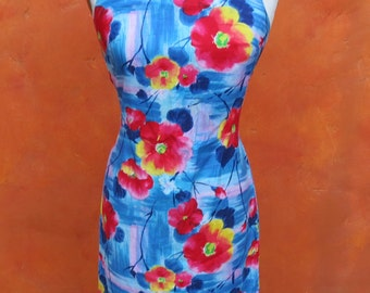 SALE Vintage 1950s 1960s Hawaiian Tropical Floral Print Wiggle Dress. Blue Red yellow Lavender. Day dress. Beach Party. Pinup. US Size 6 8