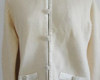 Stunning Cardigan Sweater Creamy Wool Angora Knit Winter White Pearl Buttons Satin Trim S/M