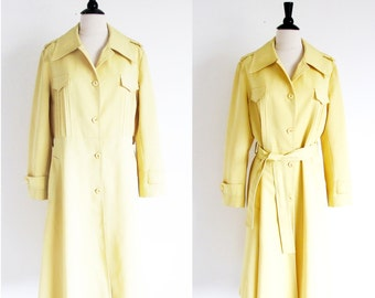 Vintage Yellow Raincoat, 70s All Weather Coat, Yellow Trench Coat, Vintage Outer Wear