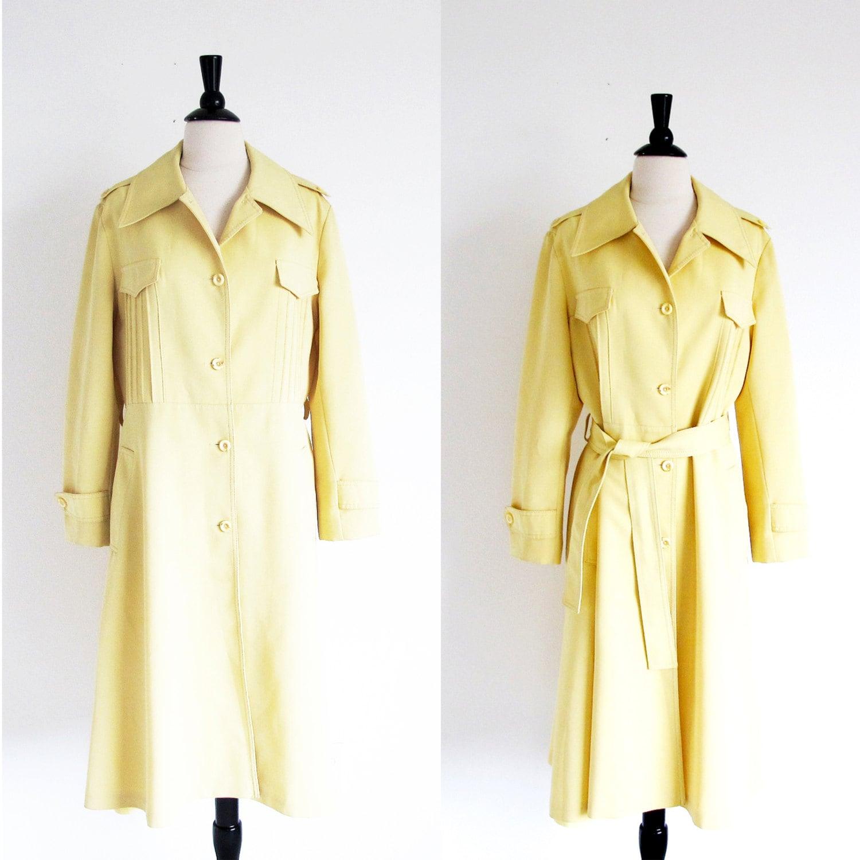 Vintage Yellow Raincoat 70s All Weather Coat Yellow Trench
