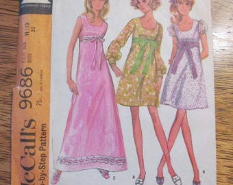 1960s Empire Line Party Dress with Cute A Line Skirt - Junior Size 9 / 10 - UNCUT Vintage Sewing Pattern McCalls 9686