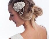 wedding hair comb, Head piece, wedding headpiece, , bridal hair comb , beaded bridal hair comb LAURETTA