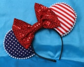 America-Inspired Mouse Ear Headband with Bow