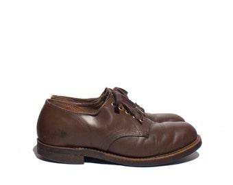 8.5 | Men's Wearmaster for Sears Roebucks Brown Leather Shoes w/ Cork Sole Oxfords