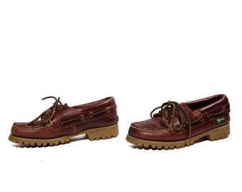 7 M | Rugged Eastland Boat Shoe Hikers in Oxblood Burgundy Leather Vibram Soles