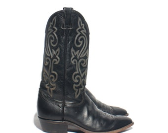 9 EE | Men's Justin Cowboy Boots Black Western Boots