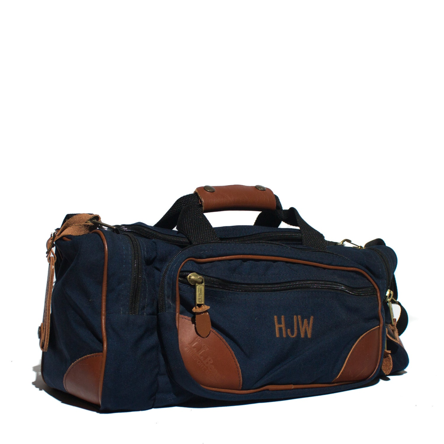 vintage 1980 s ll bean duffle bag navy blue with
