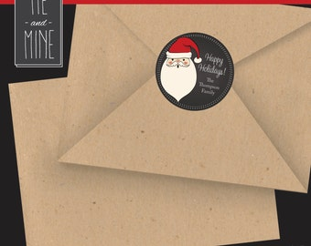 "Christmas Labels - 2"" Circle, Chalkboard, Santa, Merry Christmas"