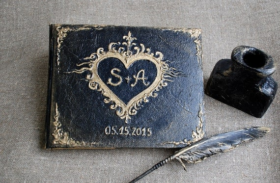 Magic Book, Diary, Guest book, Wedding guest book, Personalized guest book, Gothic wedding guest book