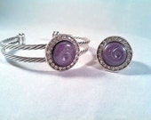 Purple and Black Bracelet & Ring Set - Clear Crystals - Hand Crafted -  S-9131