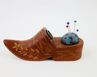 Vintage Wooden Clog Moccasin Pin Cushion