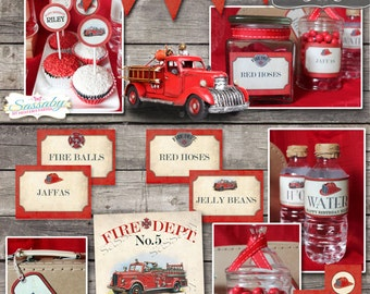 Firetruck Party Collection - INSTANT DOWNLOAD - Editable & Printable Fireman, Fire Engine, Birthday Party Decorations by Sassaby Parties