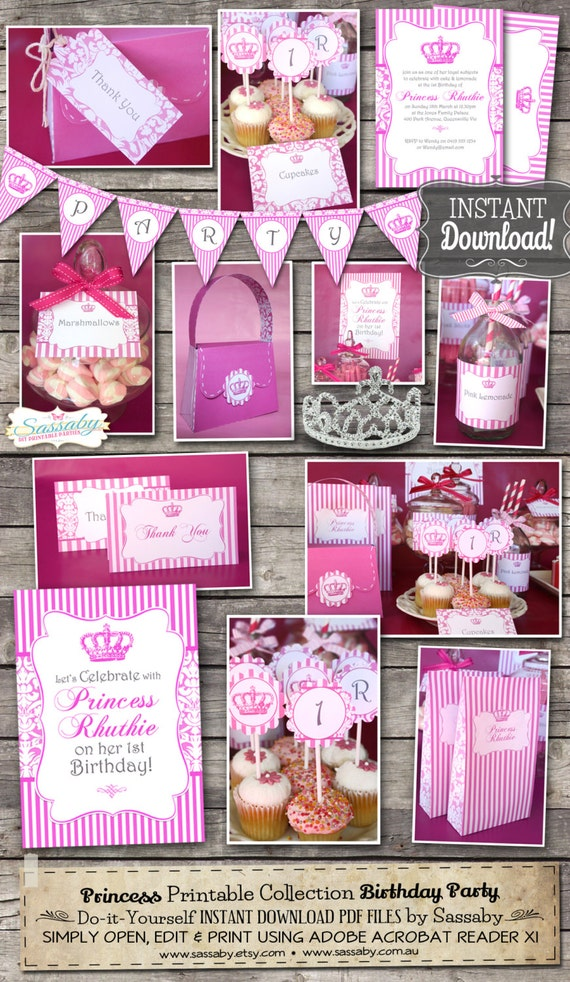 Princess Party Collection - INSTANT DOWNLOAD - Editable & Printable Pink, Royal, Princess, Queen, Birthday Decorations by Sassaby Parties