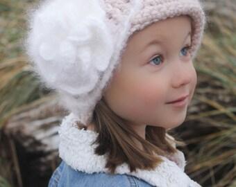 CROCHET HAT PATTERN: 'Vintage Twist Blossom' Crochet flower, Newborn - Women