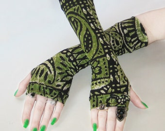 Arm Warmers hand warmer armwarmers fingerless gloves sleeves - Absinthe - Green tribal black beige gothic bohemian gypsy boho goth elf fae