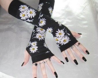 Daisy Arm Warmers fingerless gloves wrist cuffs sleeves - Mae D - black flowers floral daisies goth feminine nior belly dance folk boho emo