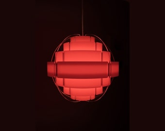 Danish light by Quality System STRIPS red pendant light