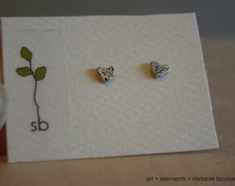 Tiny Heart Post Earrings Handmade